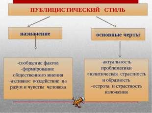 ПУБЛИЦИСТИЧЕСКИЙ СТИЛЬ основные черты назначение -сообщение фактов -формирова