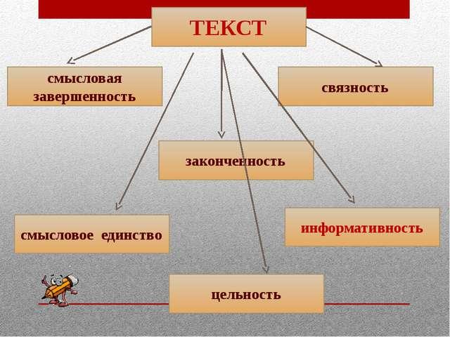ТЕКСТ смысловая завершенность законченность связность смысловое единство инфо...