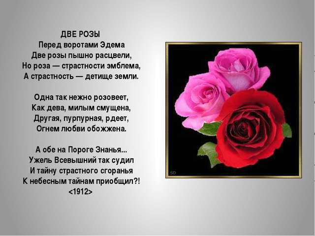 ДВЕ РОЗЫ Перед воротами Эдема Две розы пышно расцвели, Но роза — страстности...