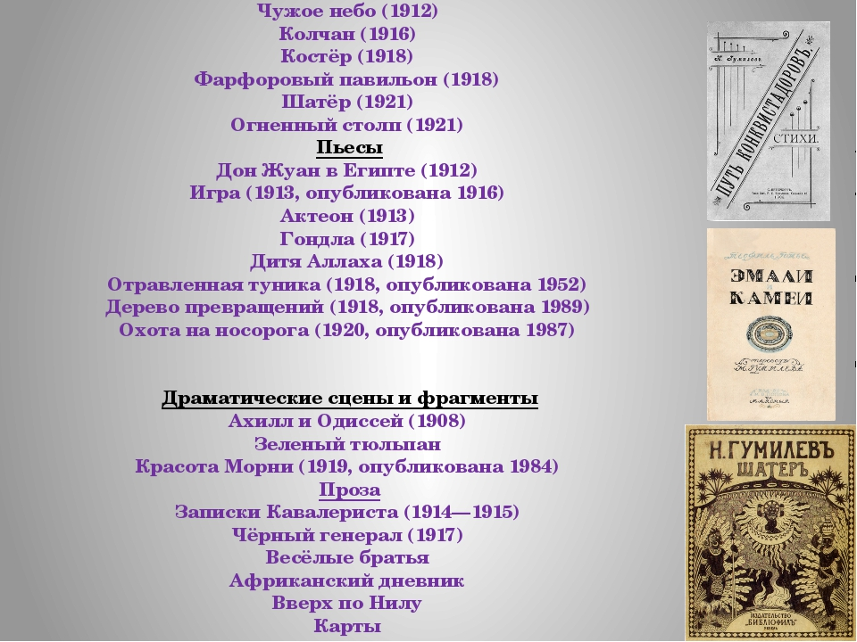 Основные работы: Сборники стихов Путь конквистадоров (1905) Романтические цве...