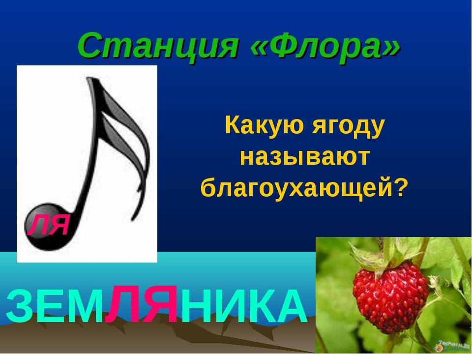 ЛЯ Станция «Флора» ЗЕМЛЯНИКА Какую ягоду называют благоухающей?