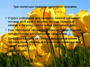 Три «золотых» правила здорового человека Строго соблюдай все правила личной г