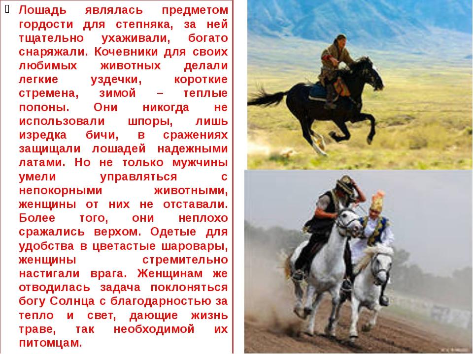 Лошадь являлась предметом гордости для степняка, за ней тщательно ухаживали,...