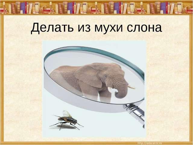 Делать из мухи слона