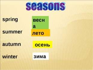 spring summer autumn winter весна лето осень зима