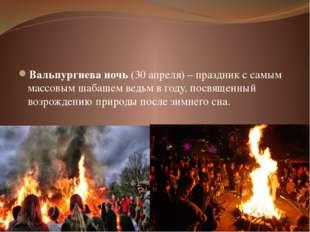 Вальпургиева ночь(30 апреля) – праздник с самым массовым шабашем ведьм в го