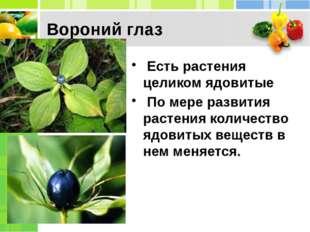 Вороний глаз Есть растения целиком ядовитые По мере развития растения количе
