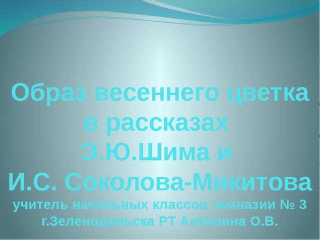 Образ весеннего цветка в рассказах Э.Ю.Шима и И.С. Соколова-Микитова учитель...