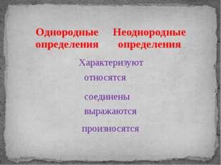 Характеризуют относятся соединены выражаются произносятся Однородные определе
