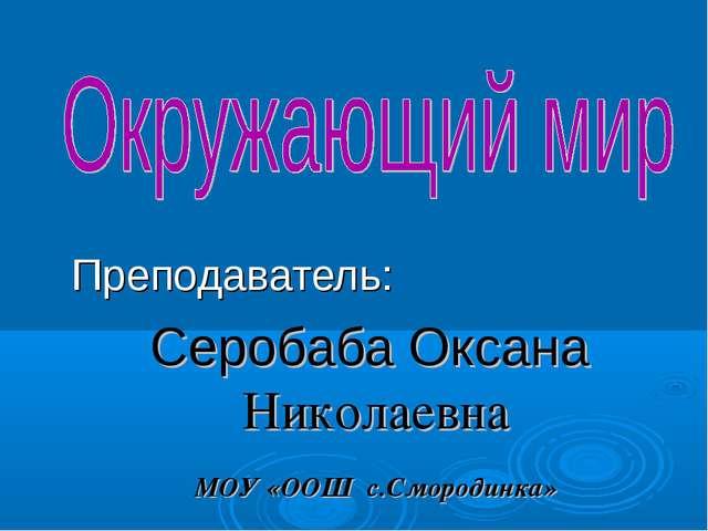 Преподаватель: Серобаба Оксана Николаевна МОУ «ООШ с.Смородинка»