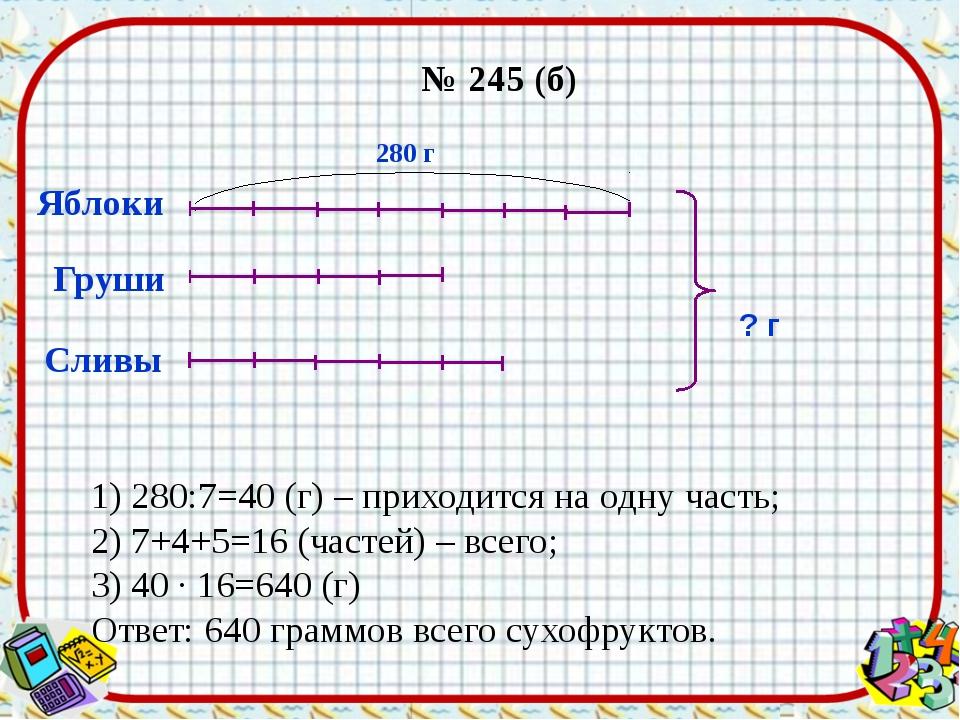 № 245 (б) Яблоки Сливы ? г 280 г Груши 1) 280:7=40 (г) – приходится на одну ч...