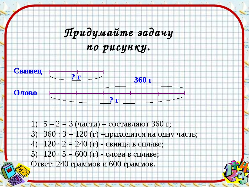 Придумайте задачу по рисунку. Свинец Олово 5 – 2 = 3 (части) – составляют 360...