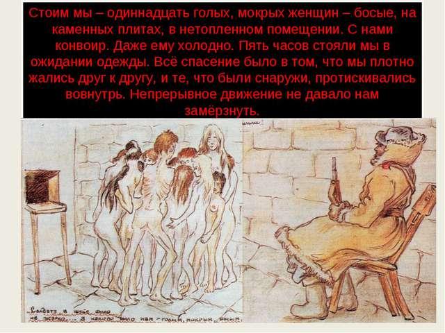 Стоим мы – одиннадцать голых, мокрых женщин – босые, на каменных плитах, в не...