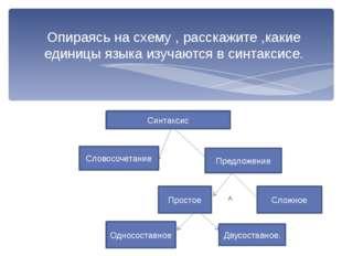 Опираясь на схему , расскажите ,какие единицы языка изучаются в синтаксисе.