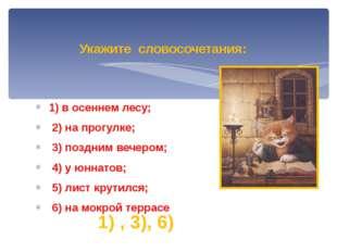 1) в осеннем лесу; 2) на прогулке; 3) поздним вечером; 4) у юннатов; 5) лист