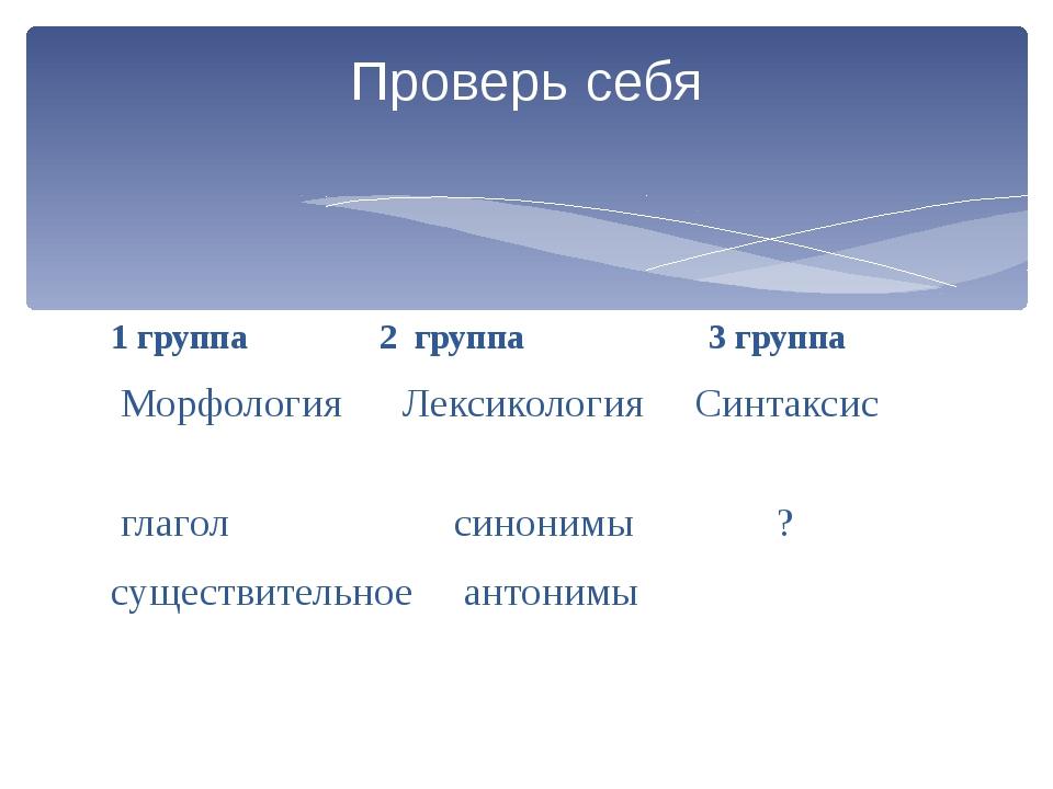 1 группа 2 группа 3 группа Морфология Лексикология Синтаксис глагол синонимы...