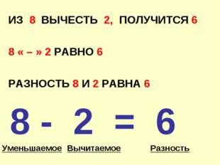 ИЗ 8 ВЫЧЕСТЬ 2, ПОЛУЧИТСЯ 6 8 « – » 2 РАВНО 6 РАЗНОСТЬ 8 И 2 РАВНА 6 8 - 2 =