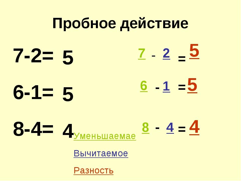 Пробное действие 7-2= 6-1= 8-4= 5 5 4 7 2 1 6 8 4 - - - = = = 5 5 4 Уменьшаем...