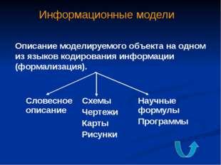 Типы информационных моделей Табличные Применяется для описания ряда объектов,