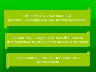 ТИП ПРОЕКТА – СМЕШАННЫЙ (практико – ориентированный и исследовательский) ПРЕД