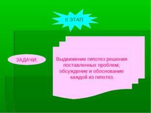 ЗАДАЧИ: Выдвижение гипотез решения поставленных проблем; обсуждение и обоснов