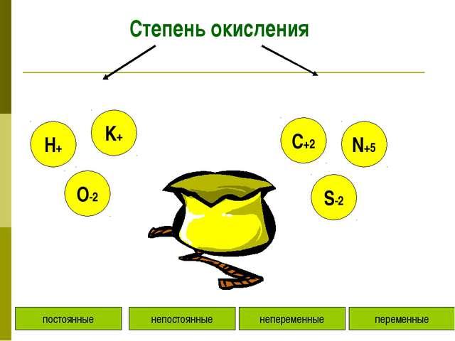 Степень окисления постоянные непостоянные переменные непеременные K+ O-2 H+ N...