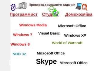 Проверка домашнего задания ПрограммистСтудентДомохозяйка DrWeb Skype World
