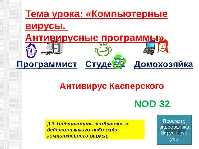ПрограммистСтудентДомохозяйка DrWeb NOD 32 Антивирус Касперского Д.З. Подг...