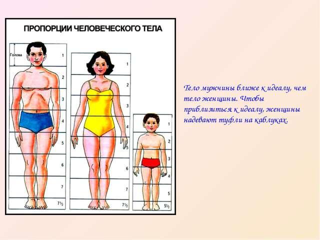 Тело мужчины ближе к идеалу, чем тело женщины. Чтобы приблизиться к идеалу, ж...