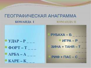 ГЕОГРАФИЧЕСКАЯ АНАГРАММА КОМАНДА I КОМАНДА II УДАР – Р _ _ _ ФОРТ – Т _ _ _ А