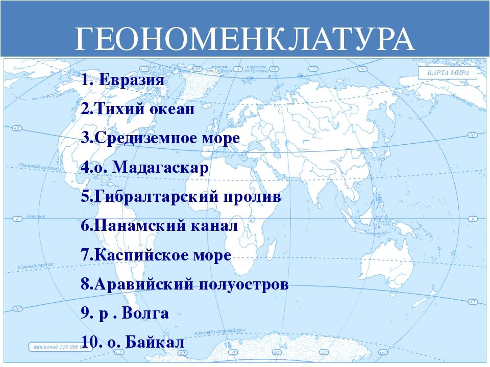 ГЕОНОМЕНКЛАТУРА 1. Евразия 2.Тихий океан 3.Средиземное море 4.о. Мадагаскар 5...