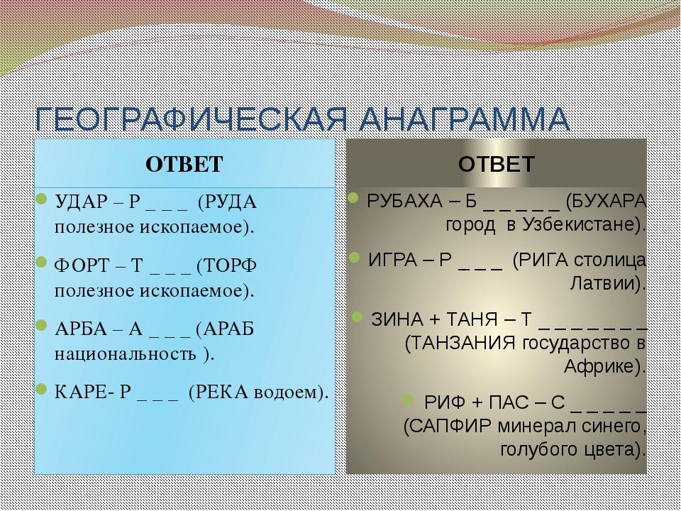 ГЕОГРАФИЧЕСКАЯ АНАГРАММА ОТВЕТ ОТВЕТ УДАР – Р _ _ _ (РУДА полезное ископаемое...
