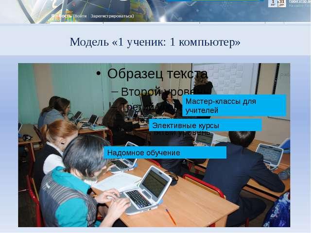 Модель «1 ученик: 1 компьютер» Мастер-классы для учителей Элективные курсы На...