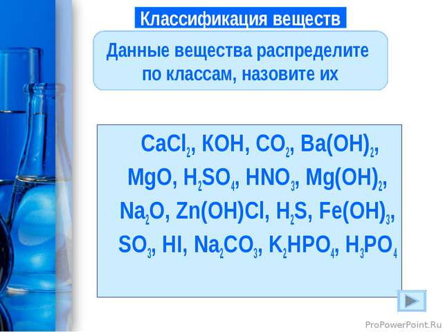 СaCl2, КOH, CO2, Ba(OH)2, MgO, H2SO4, HNO3, Mg(OH)2, Na2O, Zn(OH)Cl, H2S, Fe...