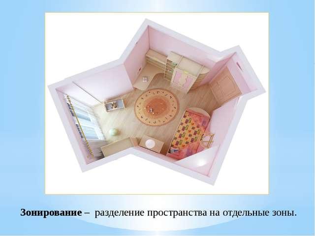 Зонирование – разделение пространства на отдельные зоны.