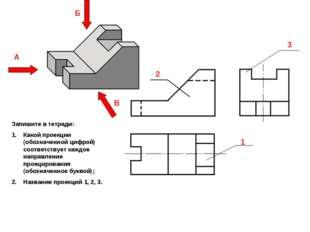 2 3 1 А Б В Запишите в тетради: Какой проекции (обозначенной цифрой) соответс