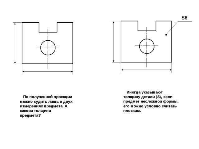 По полученной проекции можно судить лишь о двух измерениях предмета. А каков...
