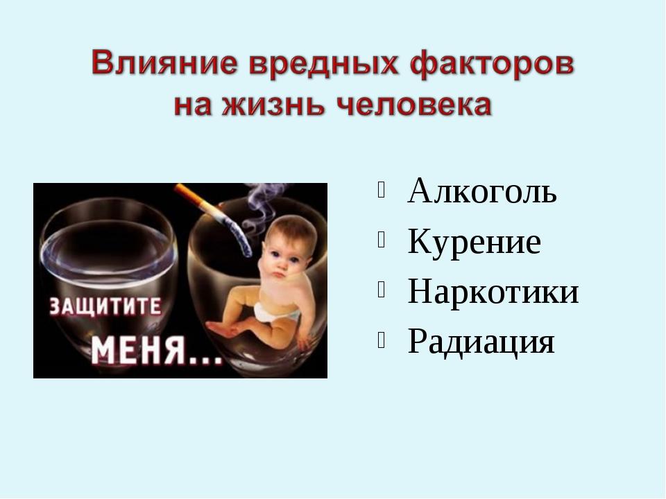 Алкоголь Курение Наркотики Радиация