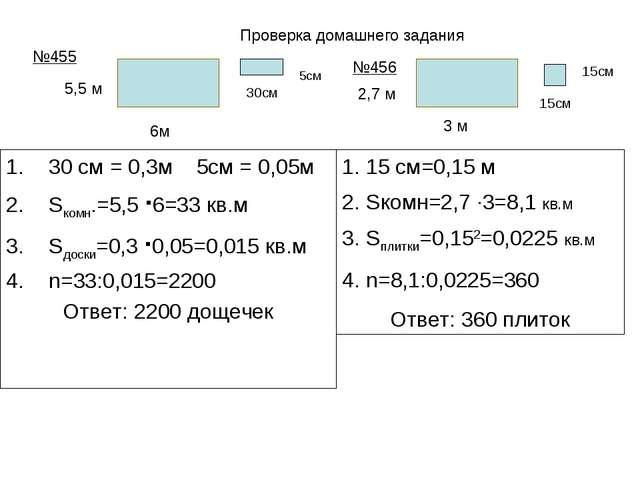 30 см = 0,3м 5см = 0,05м Sкомн.=5,5 ∙6=33 кв.м Sдоски=0,3 ∙0,05=0,015 кв.м n...