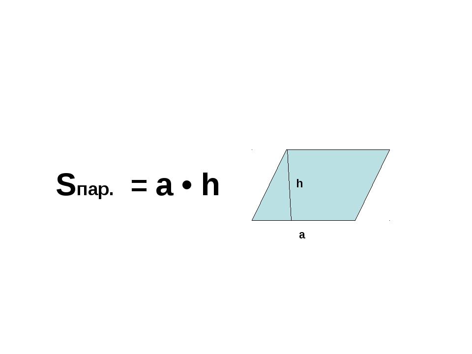 Sпар. = а • h а h