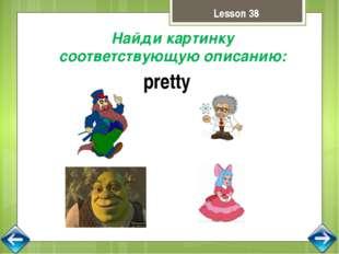 Lesson 38 Найди картинку соответствующую описанию: pretty