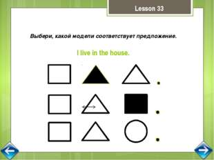Выбери, какой модели соответствует предложение. I live in the house. Lesson 33