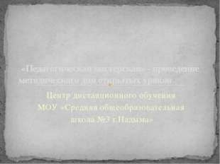 Центр дистанционного обучения МОУ «Средняя общеобразовательная школа №3 г.Над