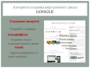 Алгоритм создания виртуального диска GOOGLE Создание аккаунта Откройте страни