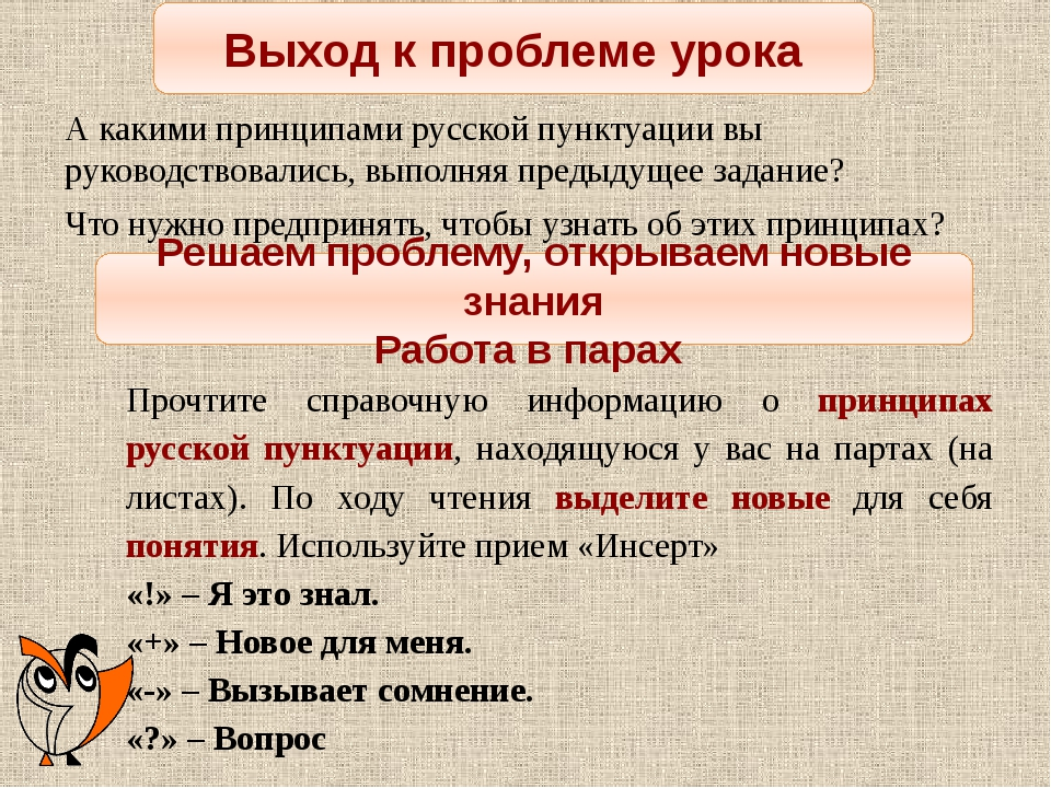 Выход к проблеме урока А какими принципами русской пунктуации вы руководствов...