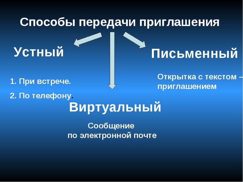 Способы передачи приглашения Устный Письменный Виртуальный 1. При встрече. 2....