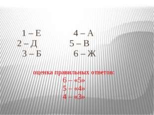 1 – Е 4 – А 2 – Д 5 – В 3 – Б 6 – Ж оценка правильных ответов: 6 – «5» 5 – «