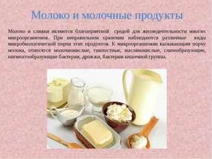 Молоко и молочные продукты Молоко и сливки являются благоприятной средой для