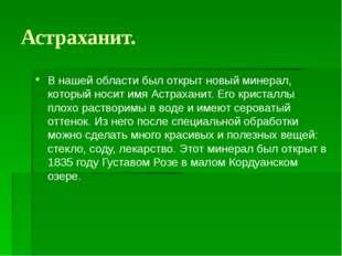 Астраханит. В нашей области был открыт новый минерал, который носит имя Астра