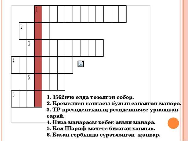 1. 1562нче елда төзелгән собор. 2. Кремелнең капкасы булып саналган манара. 3...